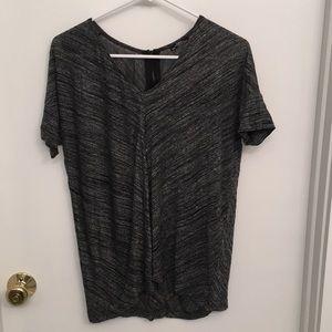 Grey Zara T-shirt with zipper on back.